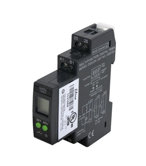 DIGITAL TIMER 8MODE 0.1S-999Hrs 24/240V AC/DC 2NO C/O DIN/CBASE 8A